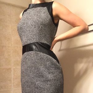 Calvin Klein Faux-Leather and Cloth Dress